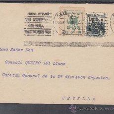 Sellos: .606C FRONTAL SEVILLA(INTERIOR), FRANQUEO UNICAMENTE PATRIOTICO 5 VDAD SOBRECARGA LATERAL RARO Y LO+. Lote 39357612