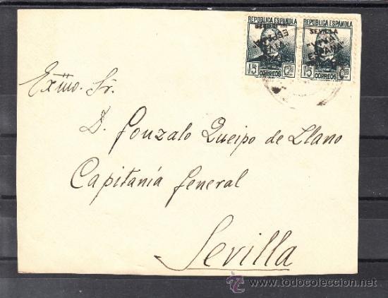 .606D FRONTAL SEVILLA(INTERIOR), FRANQUEO UNICAMENTE PATRIOTICO 5 VDAD SOBRECARGA PAREJA CAPICUA, R+ (Sellos - Historia Postal - Sello Español - Sobres Circulados)