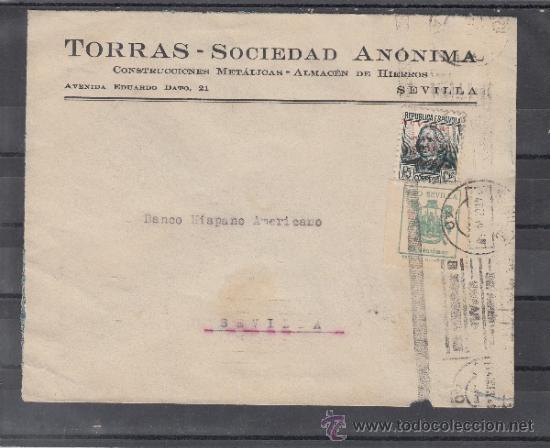 .606M SOBRE SEVILLA(INTERIOR), FRANQUEO UNICAMENTE PATRIOTICO 22 Y LOCAL G674 MATº + (Sellos - Historia Postal - Sello Español - Sobres Circulados)