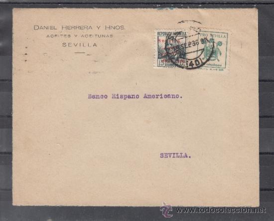 .606R SOBRE SEVILLA(INTERIOR), FRANQUEO UNICAMENTE PATRIOTICO 22 Y LOCAL G674 MATº + (Sellos - Historia Postal - Sello Español - Sobres Circulados)