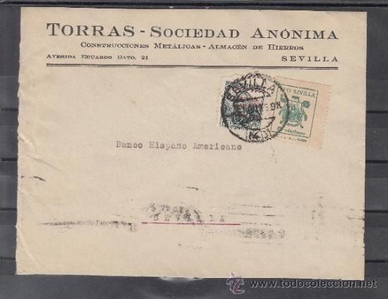 Sellos: .607 sobre sevilla(interior), franqueo unicamente patriotico 22 perforado desplazado y local g674a + - Foto 1 - 39360230