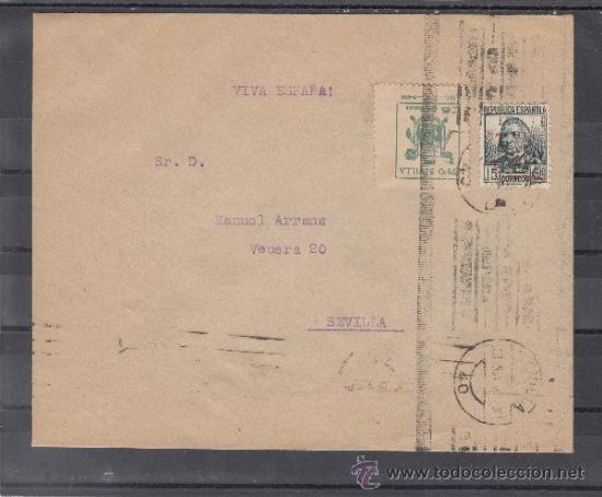 .607A SOBRE SEVILLA(INTERIOR), FRANQUEO UNICAMENTE PATRIOTICO 22 Y LOCAL G674A VDAD MARCO SUPERIOR + (Sellos - Historia Postal - Sello Español - Sobres Circulados)