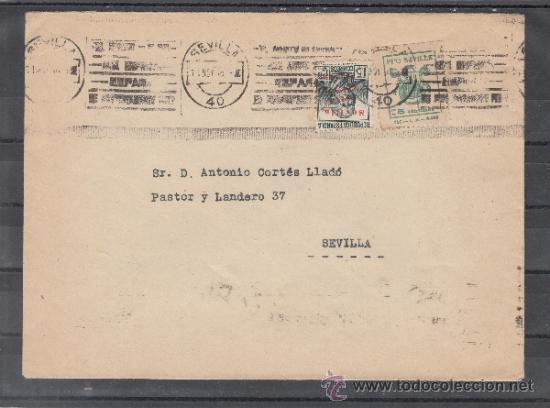 .607C SOBRE SEVILLA(INTERIOR), FRANQUEO UNICAMENTE PATRIOTICO 22 Y LOCAL G674A VDAD MARCO SUPERIOR + (Sellos - Historia Postal - Sello Español - Sobres Circulados)