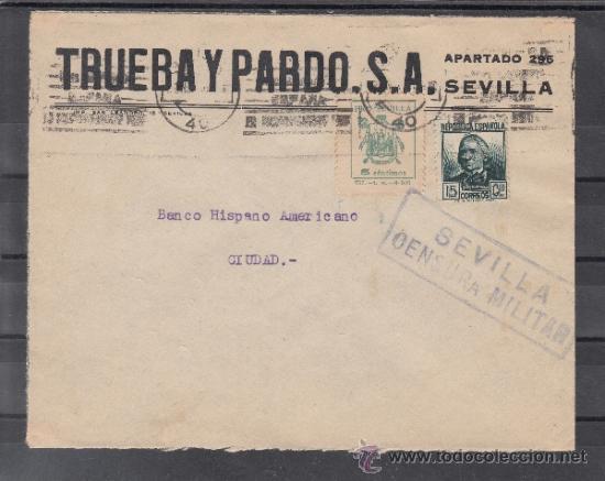 .607M SOBRE SEVILLA(INTERIOR), FRANQUEO 683 Y LOCAL 674A VDAD PIE IMPRENTA -3- INCLINADO MATº, CENS+ (Sellos - Historia Postal - Sello Español - Sobres Circulados)