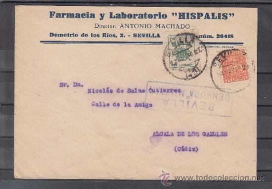 .607T SOBRE SEVILLA A ALCALA DE LOS GAZULES (CADIZ), FRANQUEO TELEGRAFO U71 Y LOCAL 674A MATº, CENS+ (Sellos - Historia Postal - Sello Español - Sobres Circulados)