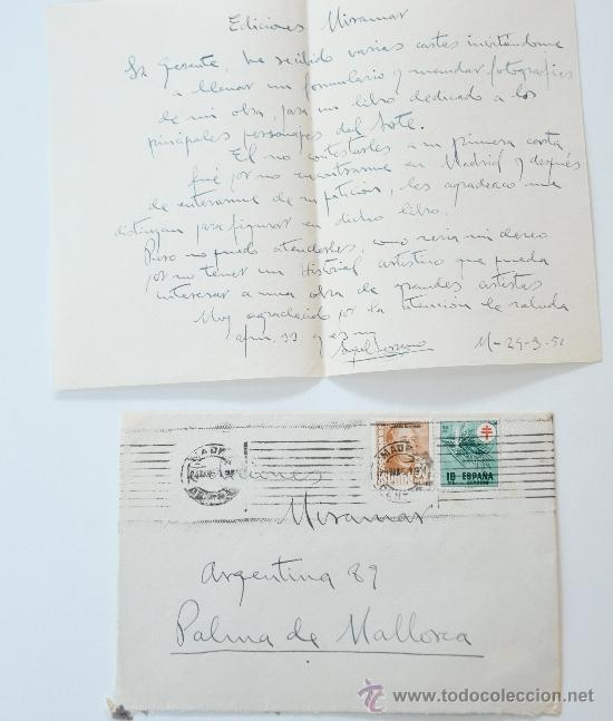 CARTA A MANO FIRMADA POR EL PINTOR, ANGEL SERRANO RAMIREZ+SOBRE CIRCULADO 1951 (Sellos - Historia Postal - Sello Español - Sobres Circulados)