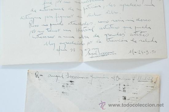 Sellos: CARTA A MANO FIRMADA POR EL PINTOR, ANGEL SERRANO RAMIREZ+SOBRE CIRCULADO 1951 - Foto 2 - 38580584