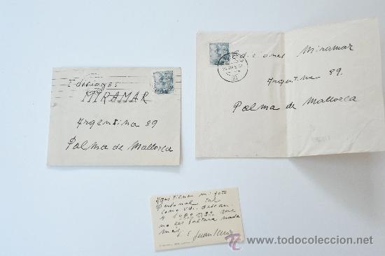 2 SOBRES CIRCULADOS 1950 + TARJETA PERSONAL CON ESCRITO Y FIRMA DEL PINTOR DE LLEIDA, JOAN SERRA (Sellos - Historia Postal - Sello Español - Sobres Circulados)