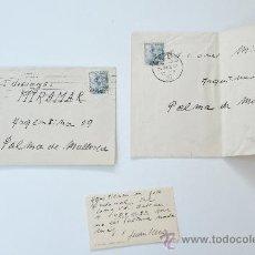 Sellos: 2 SOBRES CIRCULADOS 1950 + TARJETA PERSONAL CON ESCRITO Y FIRMA DEL PINTOR DE LLEIDA, JOAN SERRA. Lote 38580608