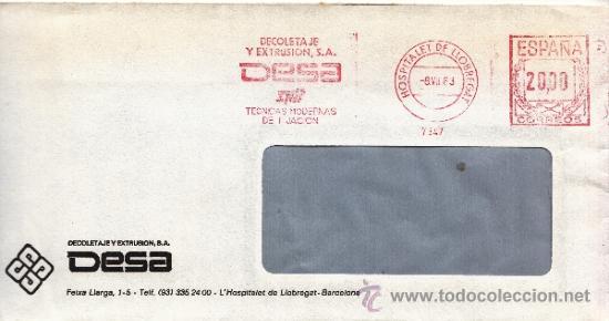 FRANQUEO MECANICO 7347 HOSPITALET DE LLOBREGAT (BARCELONA), DECOLETAJE Y EXTRUSION S.A., DESA, (Sellos - Historia Postal - Sello Español - Sobres Circulados)