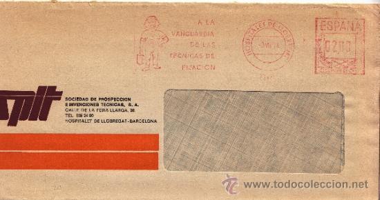 FRANQUEO MECANICO 7347 MODIFICADO HOSPITALET DE LLOBREGAT (BARCELONA), A LA VANGUARDIA DE LAS TECNI (Sellos - Historia Postal - Sello Español - Sobres Circulados)