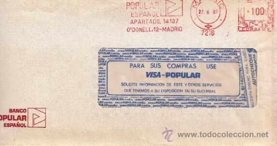 FRANQUEO MECANICO 7216 MADRID, BANCO POPULAR ESPAÑOL, (Sellos - Historia Postal - Sello Español - Sobres Circulados)
