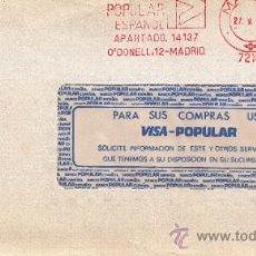 Sellos: FRANQUEO MECANICO 7216 MADRID, BANCO POPULAR ESPAÑOL,. Lote 38724579