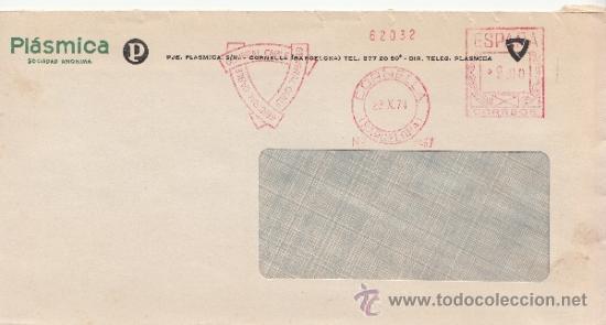 FRANQUEO MECANICO 6467 CORNELLA (BARCELONA), GENERAL CABLE, PLASMICA, S.A., (Sellos - Historia Postal - Sello Español - Sobres Circulados)