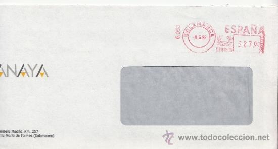 FRANQUEO MECANICO 6053 SALAMANCA, ANAYA (Sellos - Historia Postal - Sello Español - Sobres Circulados)