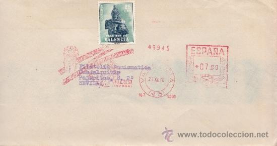 FRANQUEO MECANICO 5569 VALENCIA(45), FERIA MUESTRARIO INTERNACIONAL VALENCIA, SOBRE-TASA EN SELLOS (Sellos - Historia Postal - Sello Español - Sobres Circulados)