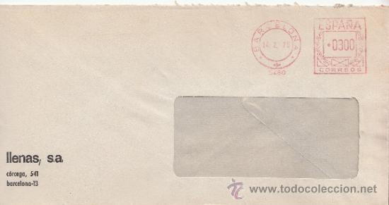 FRANQUEO MECANICO 5480 BARCELONA, COLABORADORA, LLENAS, S.A., (Sellos - Historia Postal - Sello Español - Sobres Circulados)