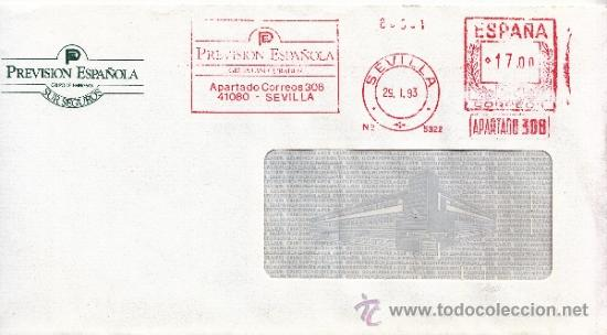 FRANQUEO MECANICO 5322 SEVILLA, PREVISION ESPAÑOLA, GRUPO ASEGURADOR, (Sellos - Historia Postal - Sello Español - Sobres Circulados)