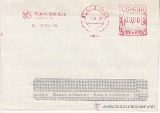 FRANQUEO MECANICO 4969 BARCELONA, BANCO ATLANTICO, FUNDADO EN 1901 (Sellos - Historia Postal - Sello Español - Sobres Circulados)