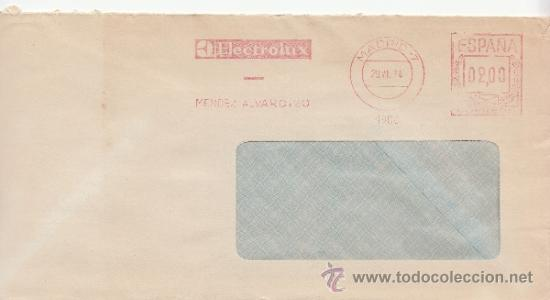 FRANQUEO MECANICO 4900 MADRID (7), ELECTROLUX, (Sellos - Historia Postal - Sello Español - Sobres Circulados)