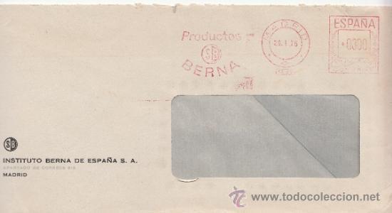 FRANQUEO MECANICO 4899 MADRID, SB, PRODUCTOS BERNA (Sellos - Historia Postal - Sello Español - Sobres Circulados)