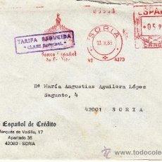 Sellos: FRANQUEO MECANICO 4373 SORIA, BANCO ESPAÑOL DE CREDITO, . Lote 38726976