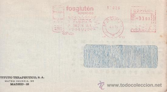 FRANQUEO MECANICO 4093 MADRID, FOSGLUTEN REFORZADO, FUERZA MENTAL, (Sellos - Historia Postal - Sello Español - Sobres Circulados)