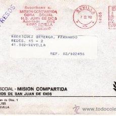 Sellos: FRANQUEO MECANICO 14105 SEVILLA, SUSCRIBASE A MISION COMPARTIDA OBRA SOCIAL H. S. JUAN DE DIOS,. Lote 38745111