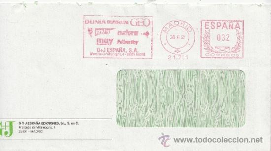 FRANQUEO MECANICO 21711 MADRID, DUNIA, COSMOPOLITAN, GEO, MIA, NATURA, MUY INTERESANTE, PADRES HOY, (Sellos - Historia Postal - Sello Español - Sobres Circulados)