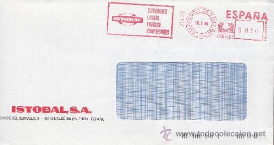 FRANQUEO MECANICO 21409 ALCUDIA DE CALET (VALENCIA), ISTOBAL, ELEVADORES LAVADO ENGRASE COMPRESORES (Sellos - Historia Postal - Sello Español - Sobres Circulados)