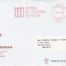 Sellos: FRANQUEO MECANICO 20412 PAMPLONA (NAVARRA), MANUEAL DE LITERATURA ESPAÑOLA, . Lote 38773777