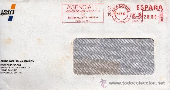 FRANQUEO MECANICO 20031 MODIFICADO MADRID, COLABORADORA, GRUPO GAN ESPAÑA SEGUROS (Sellos - Historia Postal - Sello Español - Sobres Circulados)