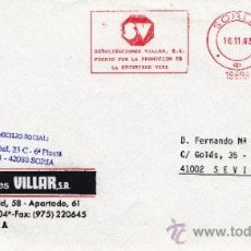 Sellos: FRANQUEO MECANICO 19899 SORIA, SEÑALIZACIONES VILLAR, S.A., PREMIO POR LA PROMOCION SEGURIDAD VIAL . Lote 38774012