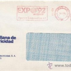 Sellos: FRANQUEO MECANICO 19262 MODIFICADO SEVILLA, COLABORADORA EXPO 92, SEVILLANA DE ELECTRICIDAD,. Lote 169784285