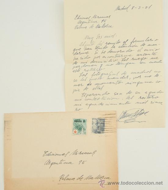 CARTA ESCRITA A MANO, FIRMADA POR EL PINTOR JOSÉ GARCÍA-OCHOA DOMINGUEZ+SOBRE 1951 (Sellos - Historia Postal - Sello Español - Sobres Circulados)