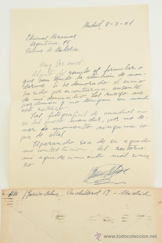 Sellos: CARTA ESCRITA A MANO, FIRMADA POR EL PINTOR JOSÉ GARCÍA-OCHOA DOMINGUEZ+SOBRE 1951 - Foto 2 - 38721614