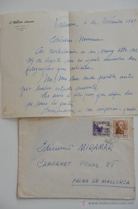 CARTA ESCRITA A MANO FIRMADA POR EL PINTOR DE BOCAIRENTE, ADOLFO FRANCÉS+SOBRE CIRCULADO 1949 (Sellos - Historia Postal - Sello Español - Sobres Circulados)