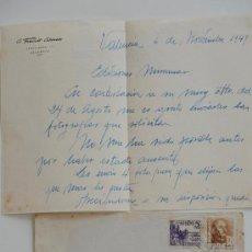 Sellos: CARTA ESCRITA A MANO FIRMADA POR EL PINTOR DE BOCAIRENTE, ADOLFO FRANCÉS+SOBRE CIRCULADO 1949 . Lote 38741227