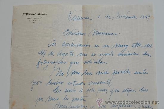 Sellos: CARTA ESCRITA A MANO FIRMADA POR EL PINTOR DE BOCAIRENTE, ADOLFO FRANCÉS+SOBRE CIRCULADO 1949 - Foto 2 - 38741227