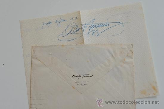 Sellos: CARTA ESCRITA A MANO FIRMADA POR EL PINTOR DE BOCAIRENTE, ADOLFO FRANCÉS+SOBRE CIRCULADO 1949 - Foto 3 - 38741227