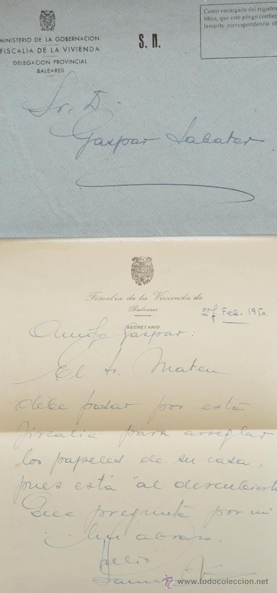 CARTA A MANO FIRMADA POR EL ESCRITOR, JULIO SANMARTIN PEREA+SOBRE 1950 (Sellos - Historia Postal - Sello Español - Sobres Circulados)