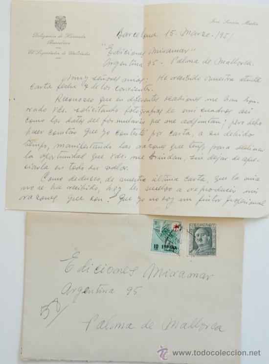 CARTA A MANO FIRMADA POR EL PINTOR JOSE SANSON MARTI+SOBRE CIRCULADO 1951 (Sellos - Historia Postal - Sello Español - Sobres Circulados)