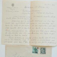 Sellos: CARTA A MANO FIRMADA POR EL PINTOR JOSE SANSON MARTI+SOBRE CIRCULADO 1951 . Lote 38900254