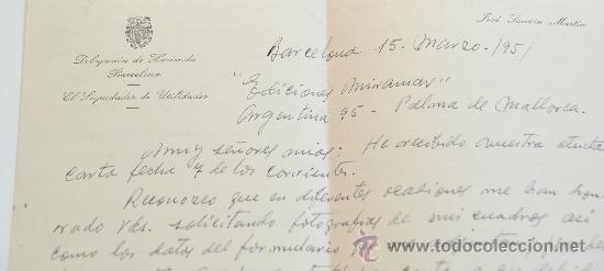 Sellos: CARTA A MANO FIRMADA POR EL PINTOR JOSE SANSON MARTI+SOBRE CIRCULADO 1951 - Foto 2 - 38900254