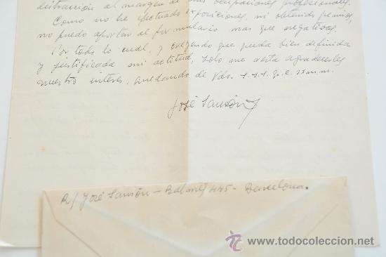 Sellos: CARTA A MANO FIRMADA POR EL PINTOR JOSE SANSON MARTI+SOBRE CIRCULADO 1951 - Foto 3 - 38900254