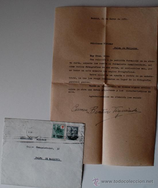 CARTA A MAQUINA FIRMADA POR LA PINTORA DE BENGUELA (ANGOLA) CARMEN FIGUEIREDO CARAVACA (Sellos - Historia Postal - Sello Español - Sobres Circulados)