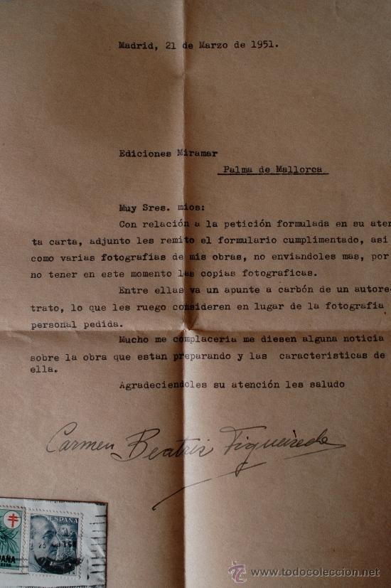 Sellos: CARTA A MAQUINA FIRMADA POR LA PINTORA DE BENGUELA (ANGOLA) CARMEN FIGUEIREDO CARAVACA - Foto 2 - 39034970