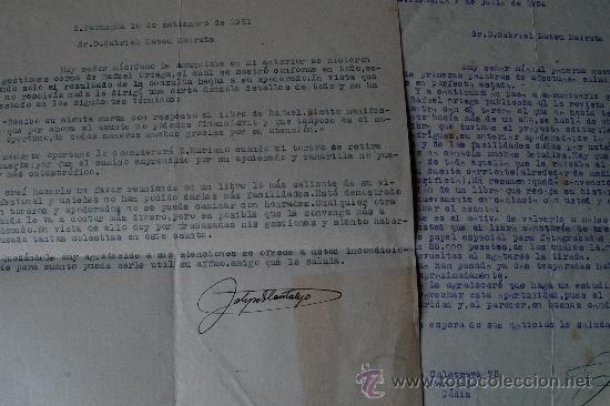 Sellos: 4 CARTAS ORIGINALES FIRMADAS POR EL CRITICO TAURINI, FELIPE GARCIA CANTALEJO (AÑOS 50) - Foto 3 - 45163545