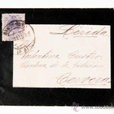 Sellos: CARTA Y SOBRE CON SELLO 15 CS,DE SANTANDER A LA CANTINA DE LA ESTACION DE CERVERA, AÑO 1915. Lote 39263821