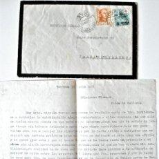 Sellos: CARTA A MAQUINA FIRMADA POR LA ESCULTORA MARIA MARTI+SOBRE TORTOSA-MALLORCA 1951 . Lote 39354787